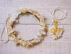 ヘッドドレス 花冠【あじさいとミモザの花冠&リストレット2点SET】