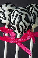 zebra striped with pink bow cake pops by The Cake Poppery <3