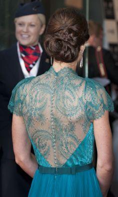 Vestido con espalda de encaje de Jenny Packham para Kate Middleton