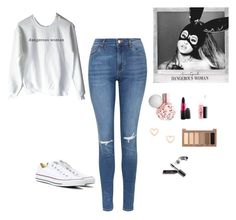 """""""dangerous woman ❤️"""" by alexbetancourt on Polyvore featuring Topshop, Converse, MAC Cosmetics, Lipsy, Urban Decay and Bobbi Brown Cosmetics"""