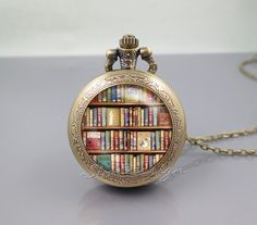 Bookshelf Pocket Watch Locket Necklace,Book library Books Lovers author,vintage pendant Pocket Watch Locket Necklace from simdesign on Etsy. Cute Jewelry, Jewelry Box, Jewlery, Jewelry Accessories, Jewelry Watches, Jewelry Necklaces, Bling, Bijoux Diy, Locket Necklace