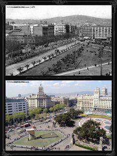 La plaza de Catalunya y la Rambla de Catalunya  Foto antigua: 1905-1910 / Foto actual: 2006 La plaza de Catalunya y la Rambla de Catalunya hacia 1910.