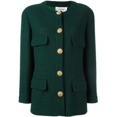 Pre-owned Chanel Vintage collarless buttoned jacket ($2,170) ❤ liked on Polyvore featuring outerwear, jackets, green, green wool jacket, green jacket, chanel jacket, button jacket and vintage jackets