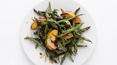 Grilled Green Beans and Peaches Recipe - Bon Appétit Summer Vegetable Recipes, Grilled Vegetable Recipes, Green Bean Recipes, Grilling Recipes, Grilling Tips, Grilled Green Beans, Grilled Fruit, Grilled Vegetables, Thanksgiving Green Beans
