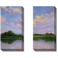Gallery Direct Kim Coulter 'Spring Sunset I and Iii' 2-piece Canvas... (290 CAD) ❤ liked on Polyvore featuring home, home decor, wall art, canvas wall art, sunset wall art, landscape wall art, canvas home decor and vertical wall art