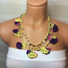 Crochet Beaded Work Strand NecklaceBeaded Handmade by NinnisGift, $23.00