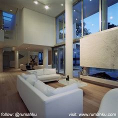 It would be nice if you could enjoy the scenery outside the home of the living room. Therefore make the glass walls around your living room. #livingroom #livingroomdesign #highceiling #glasswall #interior #interiordesign