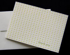 Letterpress Thank You cards with polka dots from Pistachio Press.  #polkadots #letterpress