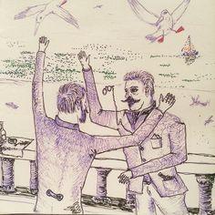 Станиславский Немирович и Данченко обсуждают логотип Художественного театра. #quicksketch #sketchbook #sketch #theatre #stanislavski #danchenko
