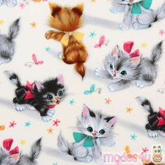 cute Michael Miller vintage fabric kitty Kitties designer fabric with many cute baby cats from the USA -Had a doll blanket out of this gma made me Art Vintage, Vintage Cards, Vintage Prints, Tissu Michael Miller, Michael Miller Fabric, Cat Fabric, Retro Fabric, Fabric Shop, Boutique Kawaii