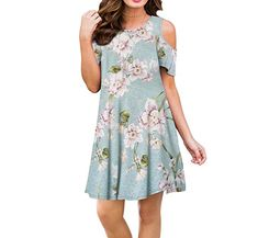cad73badb56 ZRMY Women s Floral Print Cold Shoulder Casual Dress Summer Loose Top with  Pockets Floral print dress