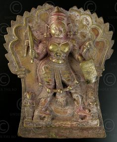 Plaque en bronze de Virabhadra (avatar de Shiva).  Karnataka, Inde du sud.  18-19ème siècle.