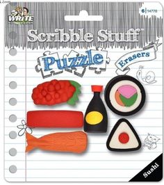Scribble Stuff Puzzle Erasers  Sushi Sushi with Soy Sauce 6 Erasers >>> Want additional info? Click on the image. #clouds