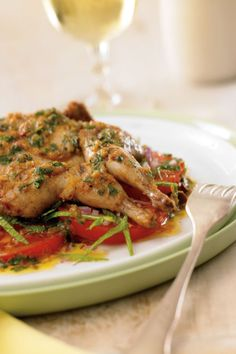 Moroccan Quail with Minted Tomato and Olive Salad :: Make your own cookbook filled with Si toi-même prévoyez d'aménager uniq Quail Recipes, Turkey Recipes, Meat Recipes, Game Recipes, Olives, Make Your Own Cookbook, Olive Salad, Salad Recipes For Dinner, Middle Eastern Recipes