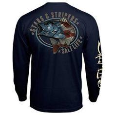 Salt Life Stars and Stripers Long-Sleeve Pocket T-Shirt for Men - Navy -