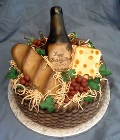 Cake is done with basket weave, then airbrushed for depth. Cheese is fondant covered crispy treats, bread is fondant covered cake, wine bottle is gumpaste, grapes and raffia are fondant. Pretty Cakes, Beautiful Cakes, Amazing Cakes, Unique Cakes, Creative Cakes, Krispy Kreme, Cupcakes, Cupcake Cakes, Food Cakes