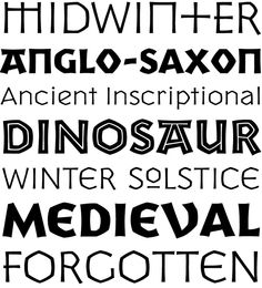 Yule is a display font family inspired by ancient inscriptional writing, from a time long forgotten. With visual references to Anglo-Saxon, Celtic, medieval, Germanic and even a bit of ancient Greek incorporated into the Roman letter forms, Yule is purposely vague to give a foreign yet familiar feel.