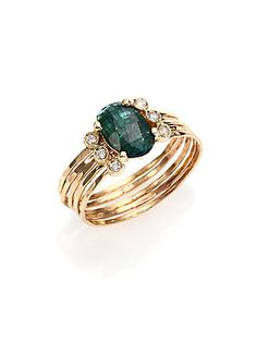 Jacquie Aiche Green Tourmaline, Diamond