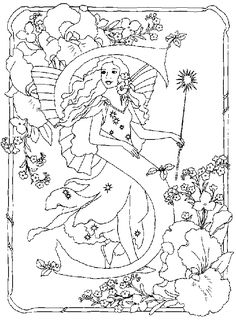 Printable Adult Fantasy Coloring Pages | Coloring page : Alphabet fairy s - Coloring.me
