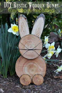 Add a country touch to your easter decor with these DIY easter wood crafts. From outdoor easter wood signs to pallet easter wood projects, there are plenty of rustic easter decorations to choose from. Wood Slice Crafts, Wood Crafts, Diy And Crafts, Awesome Woodworking Ideas, Woodworking Crafts, Woodworking Organization, Intarsia Woodworking, Woodworking Joints, Woodworking Patterns