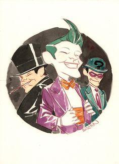 Art by Dustin Nguyen  Penguin, Joker, and the Riddler