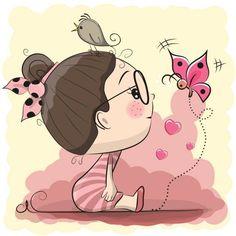 Linda garota de Cartoon com pássaro e borboleta - ilustração de arte em vetor