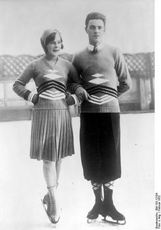 Sonja Henie (Norway) and Karl Schäfer (Austria), gold medalists in ladies' and men's singles figure skating at the 1932 Olympic Games