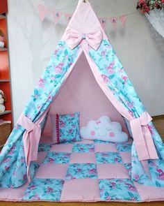 Вигвам с фламинго для для Даринки. Вигвам яркий и в то же время очень нежный. Сочетание розового и бирюзового с яркими фламинго 🌴🏖️ - похоже на тропический остров. Размер вигвама 1,2*1,2м. В комплект входит вигвам с окошком, коврик, 2 подушки, флажки с именем малыша и складные деревянные палки. #фламинго #вигвамсфламинго Kids Tents, Teepee Kids, Teepee Tent, Sewing Kids Clothes, Sewing For Kids, Baby Sewing, Kids Mania, Kids Spa Party, Pillow Mattress
