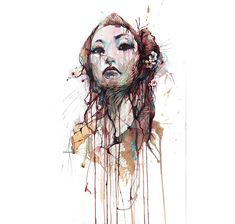 Line drawings by Carne Griffiths: this work is spun with lines…the fine pencil layer that teases out from beneath the colour; the jagged vertical drips that streak down towards the floor; the carefully etched eyebrows and lashes and hair. Girl Faces, Illustration Art Nouveau, Street Art, Art Simple, Art Vintage, Art Watercolor, Drawing Exercises, Line Drawing, Easy Drawings
