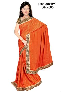 Georgette Saree of Orange Color from Sakshi Love Story Collection  (Offer Price: Rs 1280 , Offered Discount: 29%) ** BUY NOW ** [MRP: Rs 1800]