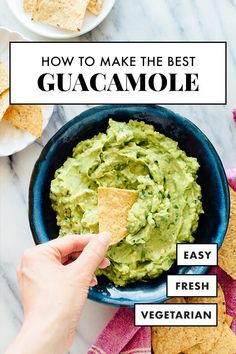 Learn how to make the best guacamole! This authentic guacamole recipe turns out perfectly every time thanks to a few simple tricks. It& so easy! Recipe yields about 2 to 3 cups guacamole, depending on your avocados (divide or multiply as necessary). Authentic Guacamole Recipe, Best Guacamole Recipe, How To Make Guacamole, Guacamole Recipe With Two Avocados, Guacamole Recipe In Spanish, Mexican Food Recipes, Real Food Recipes, Vegetarian Recipes, Dinner Recipes