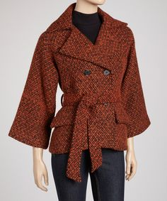 Take a look at this Orange Double-Breasted Wool-Blend Coat on zulily today!