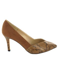 Zapato de tacón combinación ante y estampado serpiente con punta fina, en Marrón. Combinable con cualquier look. Ref.6618 //Suede and snake print heel shoe with pointed toe, in Brown. Suitable for any kind of look. Ref.6618