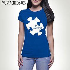 LOVE Autism Puzzle Piece T-shirt Tshirt Tee shirt Tee Autistic Support Educate Advocate Love Autism Awareness Month April Spectrum MB547