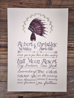 Rustic Wedding Invitation ~ Native American Headdress ~ Camp Wedding ...