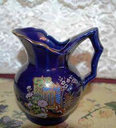 Japan Hand Painted Cobalt Blue W/Scene Gold Trimmed Handled Pitcher Peacock Blue, Porcelain Ceramics, Wedgwood, Cobalt Blue, Scene, Hand Painted, Vase, Japan, Gold