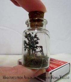 My daughter made me this micro miniature  terrarium with a tree and a swing set. It's less than 2 inches tall and 1 inch in diameter. :) R. Vallejo