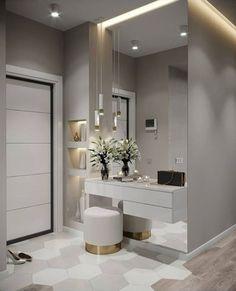 Hall de entrada clean, moderno e lindo. Home Interior Design, Bedroom Closet Design, Interior Design Bedroom, House Interior, Modern Bedroom Design, Home, Interior Design Living Room, Interior, Bedroom Design