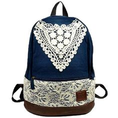 Amazon.com: Sealike New Korean Lace College Style Leisure Canvas Backpack Gilr's Lovely Bow Rucksack Vintage Floral Print School Bag Retro Sweet Fashionable Outdoor School Backpack for Teens Students Women Ladies Girls Navy Blue: Sports & Outdoors featuring and polyvore,