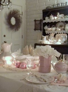 . . . Cabin & Cottage pink and white Christmas table setting
