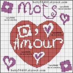 amour - love - mots - point de croix - cross stitch - Blog : http://broderiemimie44.canalblog.com/