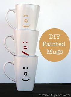 no. 2 pencil reviews: DIY Painted Ceramic Mugs with Martha Stewart Glass Paint and Stencils