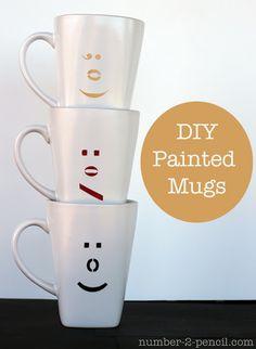 DIY Painted Emoticon Ceramic Mugs
