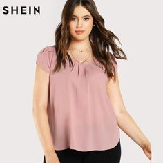 SHEIN Casual Plus Size Pink Blouse Fashion Elegant Blouse Spring Summer Large Size Top Tulip Sleeve Pleated Neck Top And Blouse - SHEIN Casual Plus Size Pink Blouse Fashion Elegant Blouse Spring Summe – eefury Source by official_ltemf - Pop Fashion, Trendy Fashion, Plus Size Fashion, Fashion Outfits, Curvy Fashion, Plus Size Dresses, Plus Size Outfits, Tulip Sleeve, Evening Tops