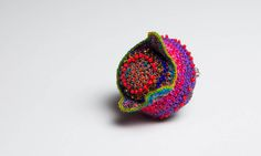 Ruta Naujalyte accesories | Brooches Crochet Rings, Fiber Art, Stud Earrings, Beads, Brooches, Inspiration, Accessories, Jewelry, Fiber