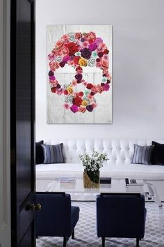 Day of the dead flower canvas