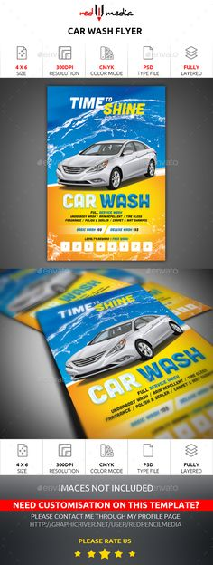 Car Wash PSD Flyer Template • Only available here ➝ http://graphicriver.net/item/car-wash-flyer/16638653?ref=pxcr