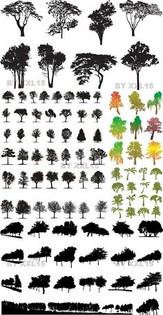 Tree Silhouettes Vector | Free Vector Graphics & Art Design Blog - for stenciling/ painting behind random quotes....