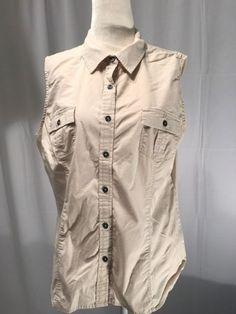 Sonoma Womens Shirt Sleeveless Button Down Top Shirt 2 Pocket Beige Size Large #Sonoma #ButtonDownShirt