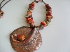 hand forged copper pendant stone leather necklace by BellaCruz, $38.00